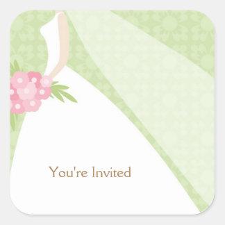 Green Damask Elegant Bride Square Sticker