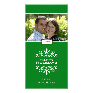 Green Damask Holiday Photo Card