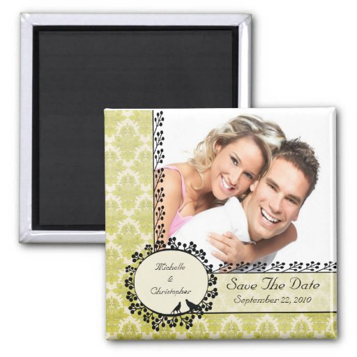 Green Damask Love Birds Photo Save The Date Magnet