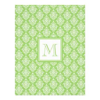 Green Damask Pattern 1 with Monogram 21.5 Cm X 28 Cm Flyer