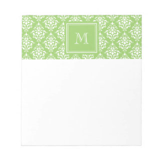Green Damask Pattern 1 with Monogram Notepad