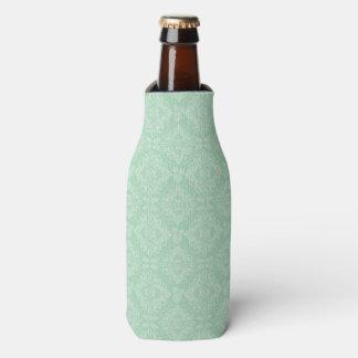Green damask pattern bottle cooler