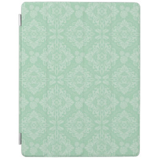 Green damask pattern iPad cover