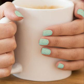 Green damask pattern minx nail art