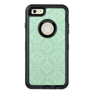 Green damask pattern OtterBox defender iPhone case