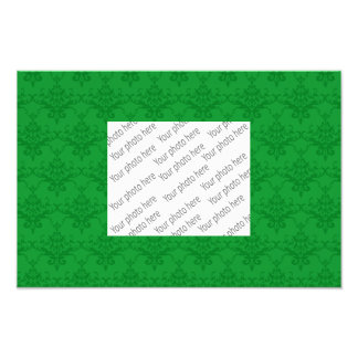 Green damask pattern photo print