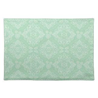 Green damask pattern placemat