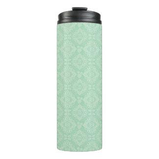 Green damask pattern thermal tumbler