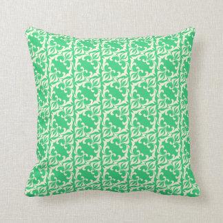 Green Damask Pattern Throw Pillow