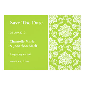 Green Damask Save The Date Card