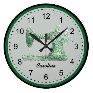 Green Damask Sewing Machine Wall Clock