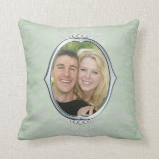 Green Damask Silver Frame Photo Throw Cushions