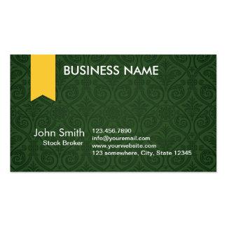 Green Damask Stock Broker Business Card