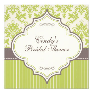 Green Damask Stripe Bridal Shower Invitation