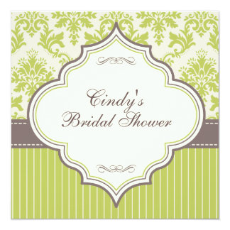 Green Damask & Stripe Bridal Shower Invitation