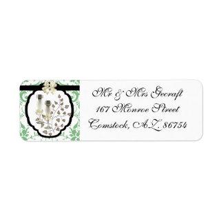 Green Damask Wedding Address Label
