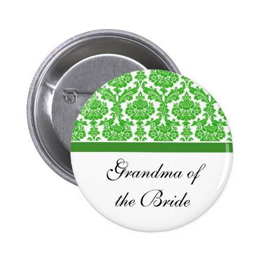 green damask wedding buttons pins