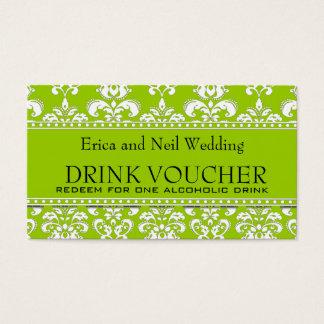 Green Damask Wedding Drink Voucher for Reception