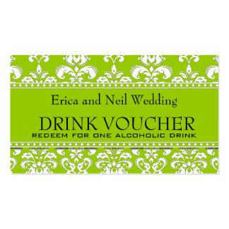 Green Damask Wedding Drink Voucher for Reception Pack Of Standard Business Cards