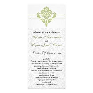 green damask Wedding program Rack Card Template