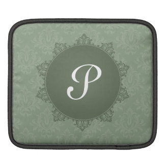 Green Damask with Initial Sleeves For iPads