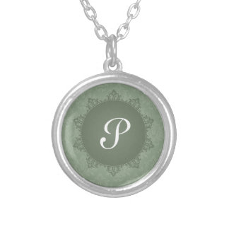 Green Damask with Initial Silver Plated Necklace