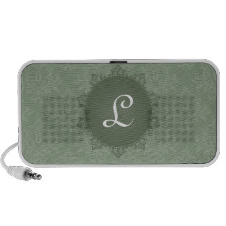 Green Damask with Initial Portable Speakers
