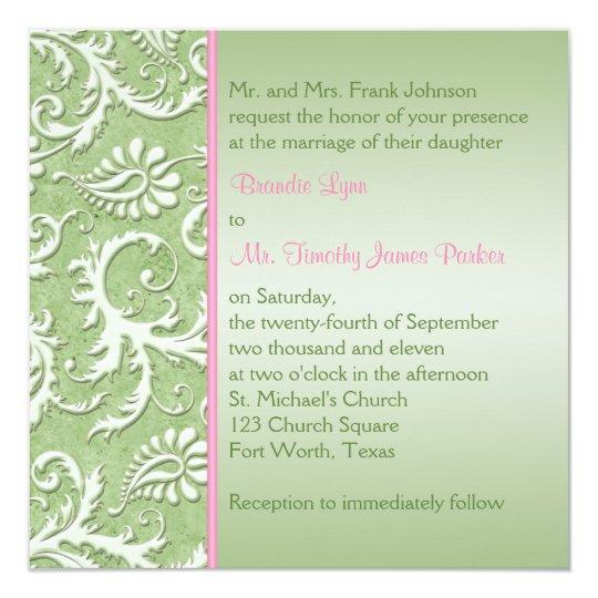 Green Damask with Pink Wedding Invitation
