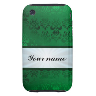Green Damask with Ribbon iPhone 3 Tough Cases