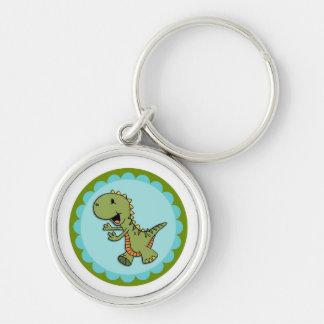 Green Dancing Dinosaur Round Keychain