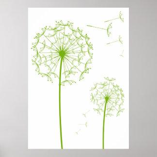 green dandelion poster