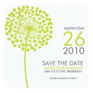 Green Dandelion Wedding Save the Date Card