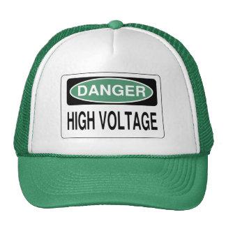 Green Danger High Voltage Hazard Sign Hat