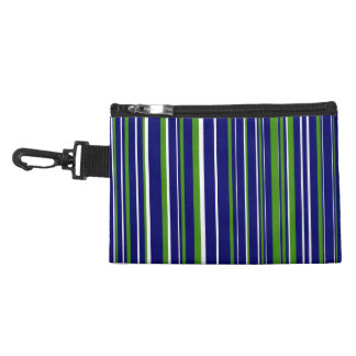 Green, Dark Navy Blue, White Barcode Stripe Accessory Bags