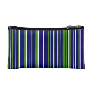 Green, Dark Navy Blue, White Barcode Stripe Makeup Bag