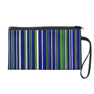 Green, Dark Navy Blue, White Barcode Stripe Wristlet Purse