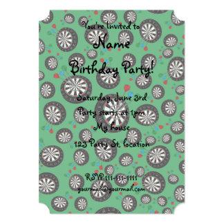 """Green dartboard pattern 5"""" x 7"""" invitation card"""