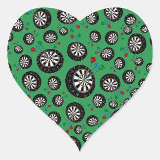 Green dartboard pattern heart sticker