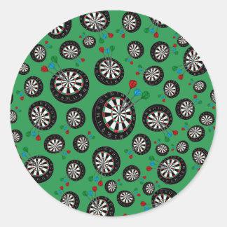 Green dartboard pattern round stickers