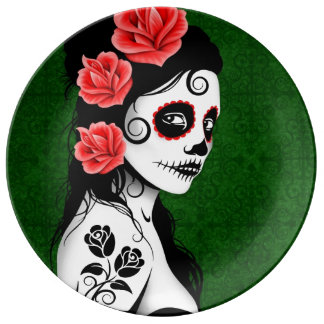 Green Day of the Dead Sugar Skull Girl Plate