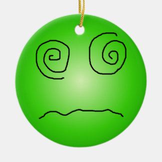 Green Dazed and Confused Smiley Christmas Ornament