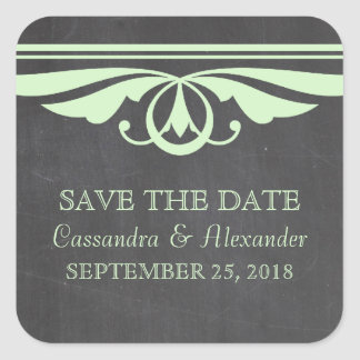 Green Deco Chalkboard Save the Date Stickers