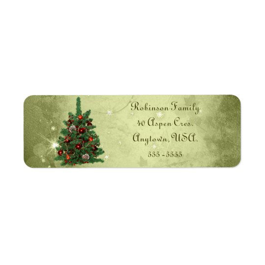 Green Decorated Christmas Tree Address Labels