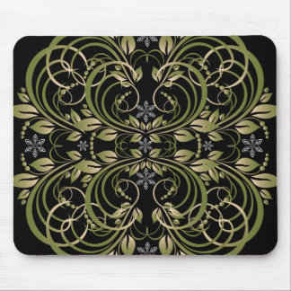green decorative floral pattern mouse mat
