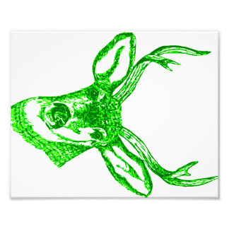 Green Deer Head Photo Print