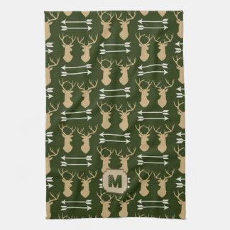 Green Deer Pattern Cabin Tea Towel