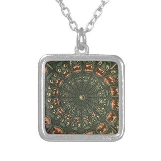 Green Demons Phenakistoscope Card Vintage Square Pendant Necklace