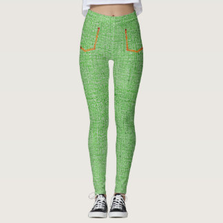 Green Denim Skinny Jeans Leggings