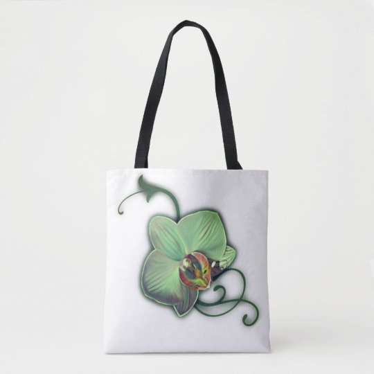 Green design orchid tote bags