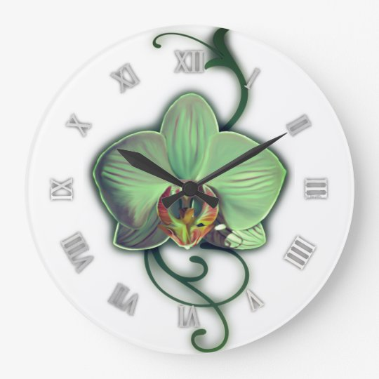 Green design orchid wall clock